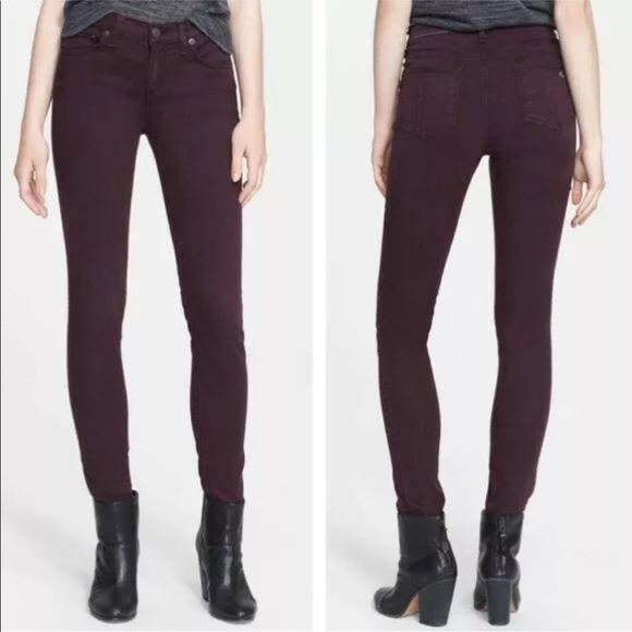 rag & bone Denim - Rag & Bone Skinny Distressed Wine Color Jeans